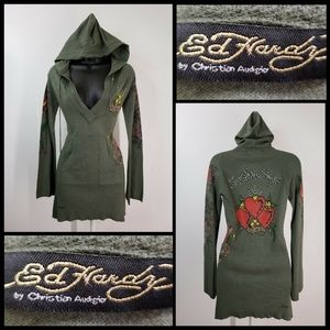 Ed Hardy by Christian Audigier Women Hooded sz XS